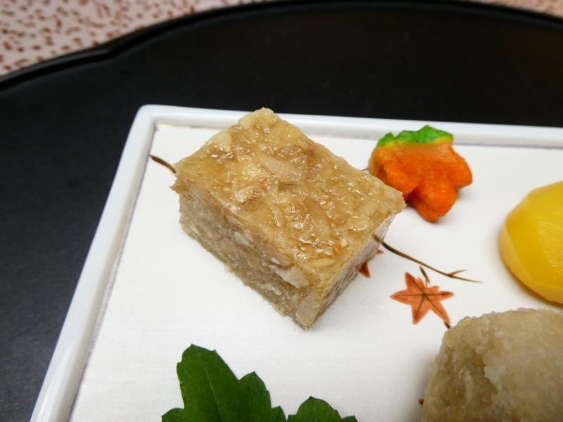 下田野の花亭こむらさきの夕食 前菜 煮こごり