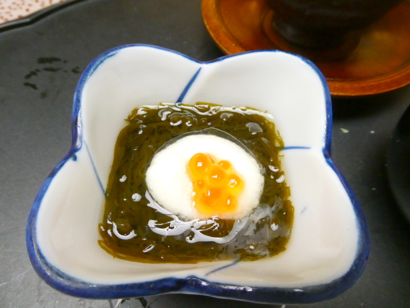 下田野の花亭こむらさきの夕食 酢の物 もずく酢